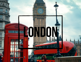 Picture of London bus and telephone booth with word London in black