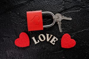 heart with key. abstract love background concept with key and red padlock