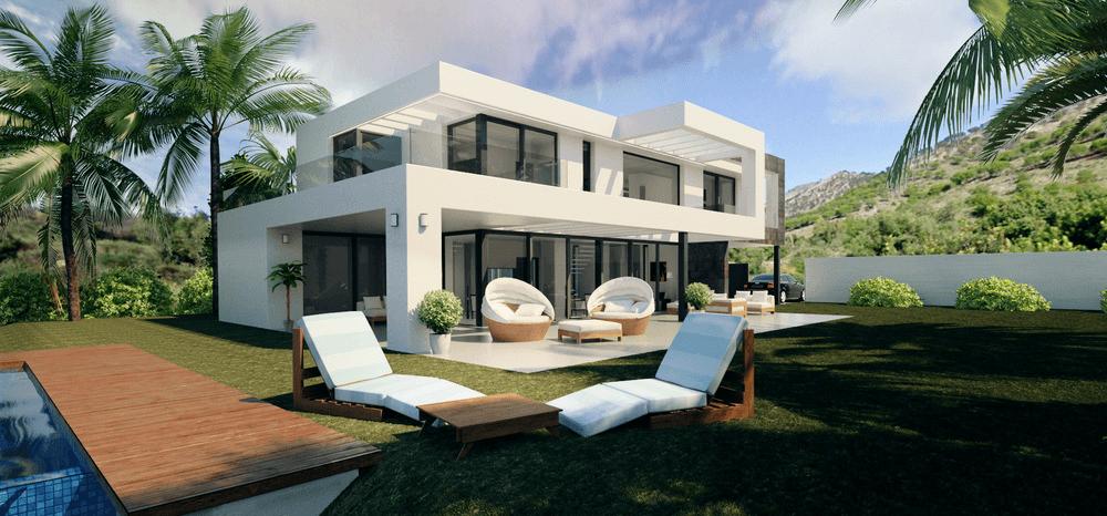 Modern villas under construction in Mijas