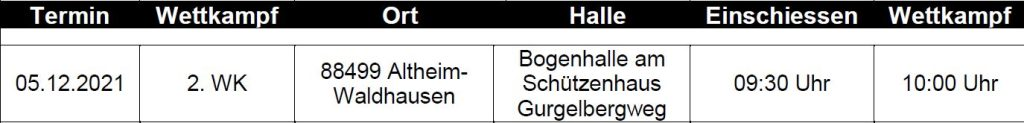 Landesliga Süd Recurve Bogen 2021/2022 2. WK-Tag @ Bogenhalle SV Altheim-Waldhausen | Altheim | Baden-Württemberg | Deutschland
