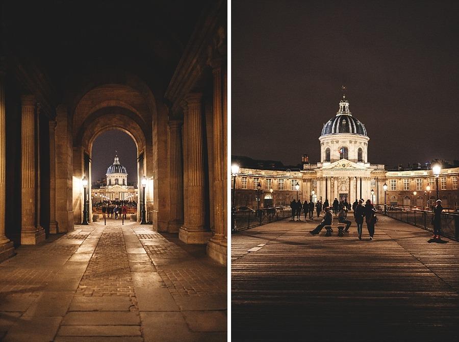 Séjour amoureux à Paris pont des arts nuit