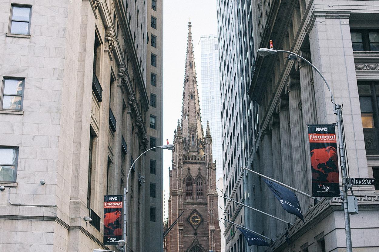 Financial district new york city trinity church manhattan