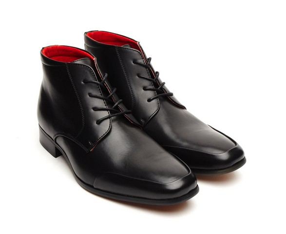 ITALIAN LEATHER ANKLE BOOTS BLACK LACE UP