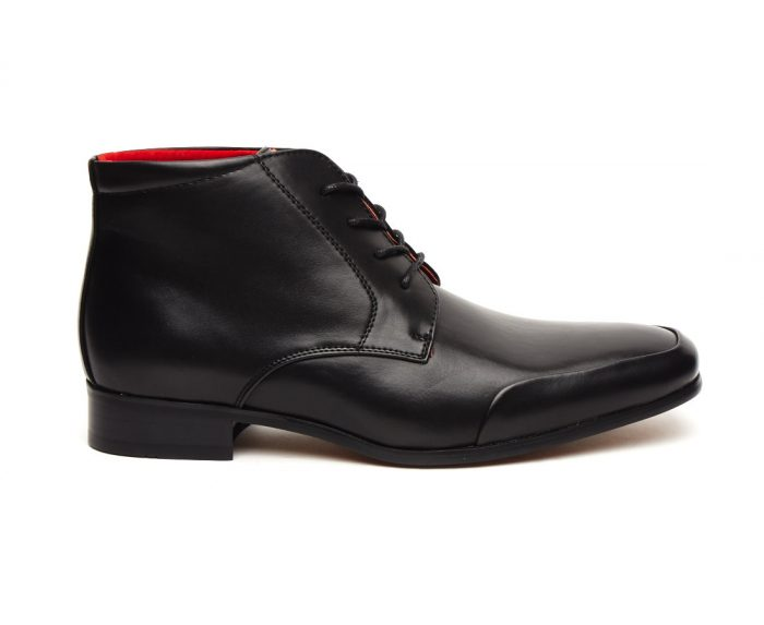 ITALIAN LEATHER ANKLE BOOTS ROSSELLINI AIDO BLACK