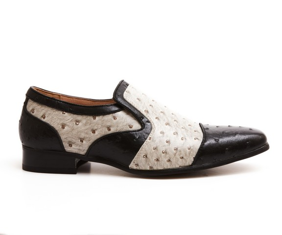 MENS black and white DOTTED SLIP ON LOAFERS ROUNDED TOE TASSLE ROSSELLINI ALTEZA