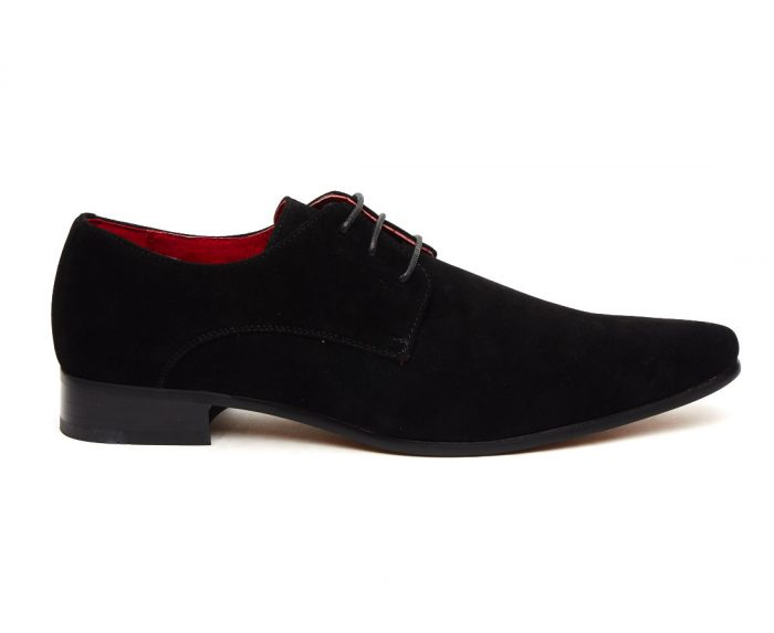 MENS FAUX SUEDE LACE UP DESIGNER SHOES ROSSELLINI AZZURA BLACK