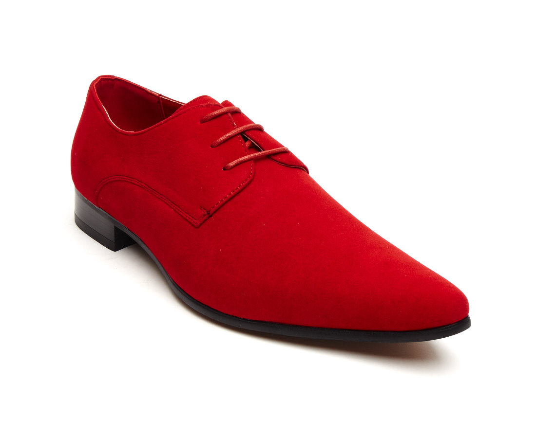 MENS FAUX SUEDE LACE-UP DESIGNER SHOES ROSSELLINI AZZURA red