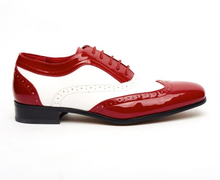 MENS ITALIAN DESIGNER LACE-UP POINTED BROGUES BORSALINO RED AND WHITE