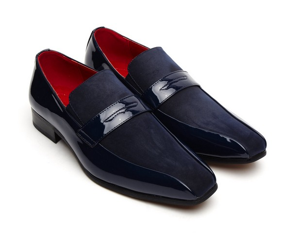 FORMAL PATENT SUEDE SLIP on shoes navy