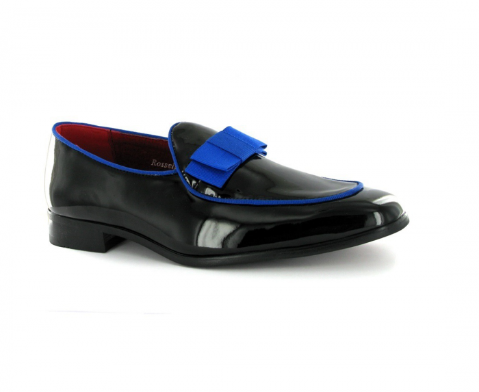 MENS MOCCASIN PATENT LOAFER ROSSELLINI PARKER BLACK BLUE