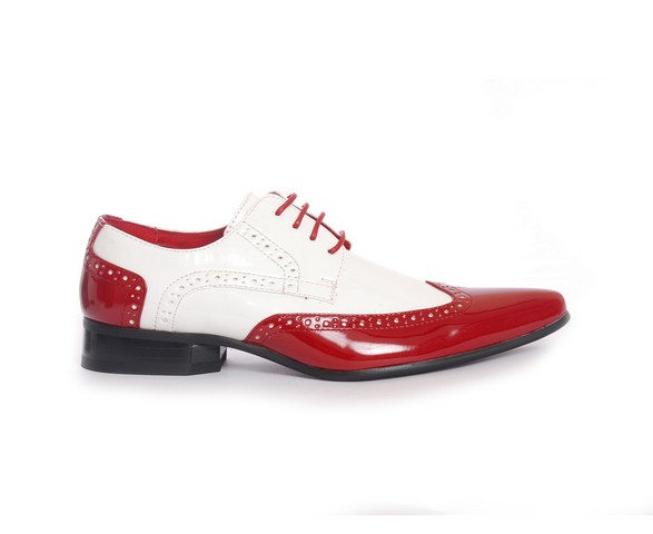 MENS POINTED BROGUES LACE UP CASUAL SHOES PRATO Z2 red white