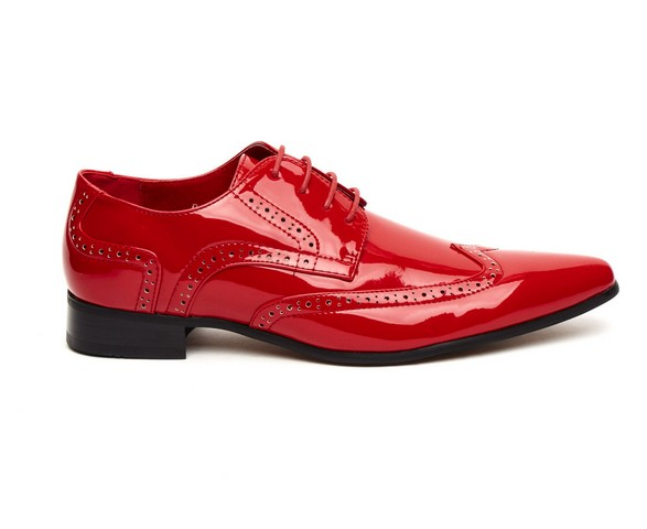 MENS POINTED BROGUES LACE red