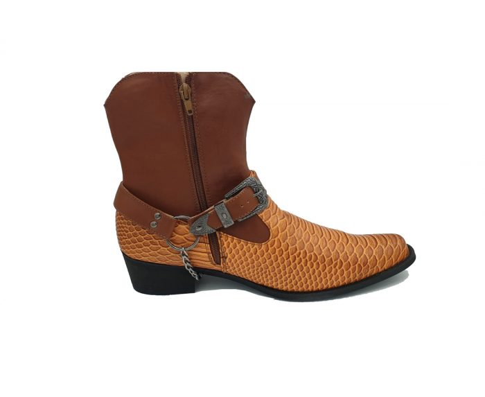 MENS WESTERN COWBOY ANKLE BOOT FULL ZIP ROSSELLINI TUCO brown