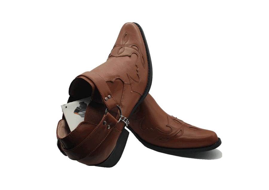 ITALIAN MENS ANKLE BUCKLE up boots ROSSELLINI VENEZIA brown