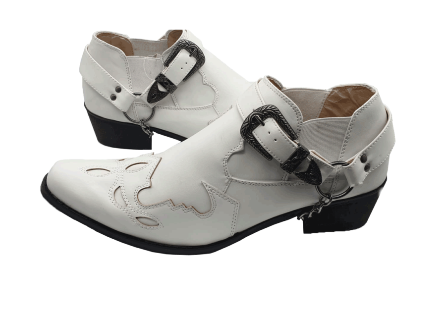 ITALIAN MENS ANKLE BUCKLE up pointed ROSSELLINI VENEZIA WHITE