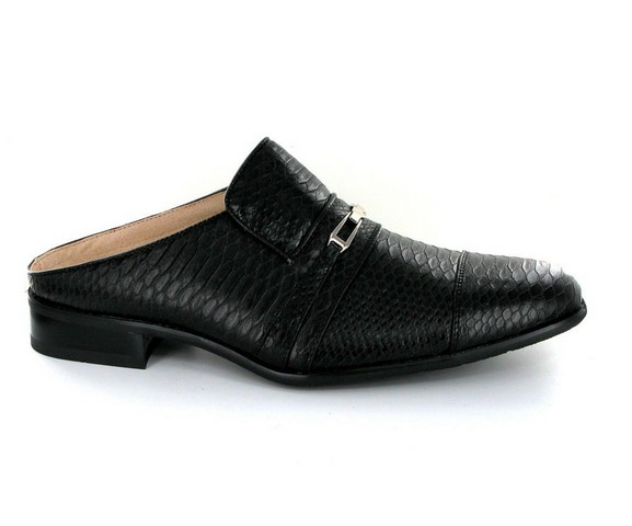 MENS SLIPPERS HALF SHOES BACKLESS FAUX LEATHER | ROSSELLINI ALBERTO BLACK