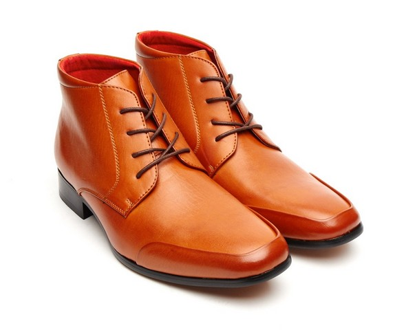 MENS ITALIAN LEATHER ANKLE BOOTS BROWN AIDO