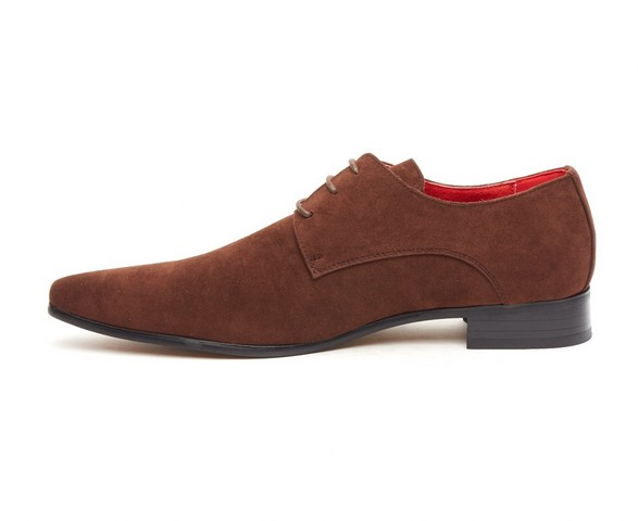 ROSSELLINI AZZURA BROWB SUEDE POINTED TOE LACE UP MENS SHOES