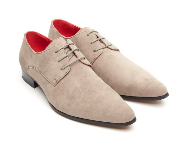 ROSSELLINI AZZURA GREY SUEDE POINTED TOE MENS LACE UP SHOES
