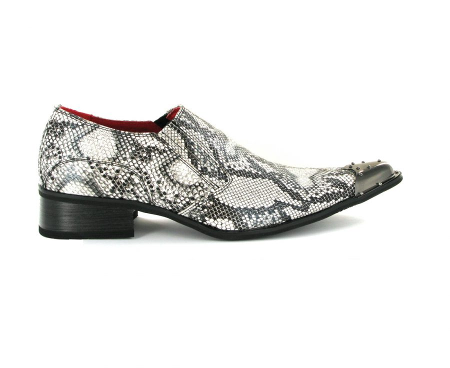 BENITEZ SNAKE SKIN LEATHER LINED POINTED METAL TOE SLIP ON ROSSELLINI