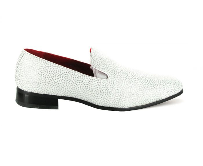 MENS GLITTER MOCCASIN LOAFERS CASUAL SLIP ON ROSSELLINI CARLO white