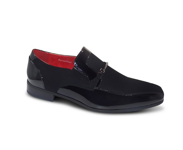MENS MOCCASINS NUBUCK LEATHER SLIP ON DESIGNER ROSSELLINI CONTE PLAIN BLACK