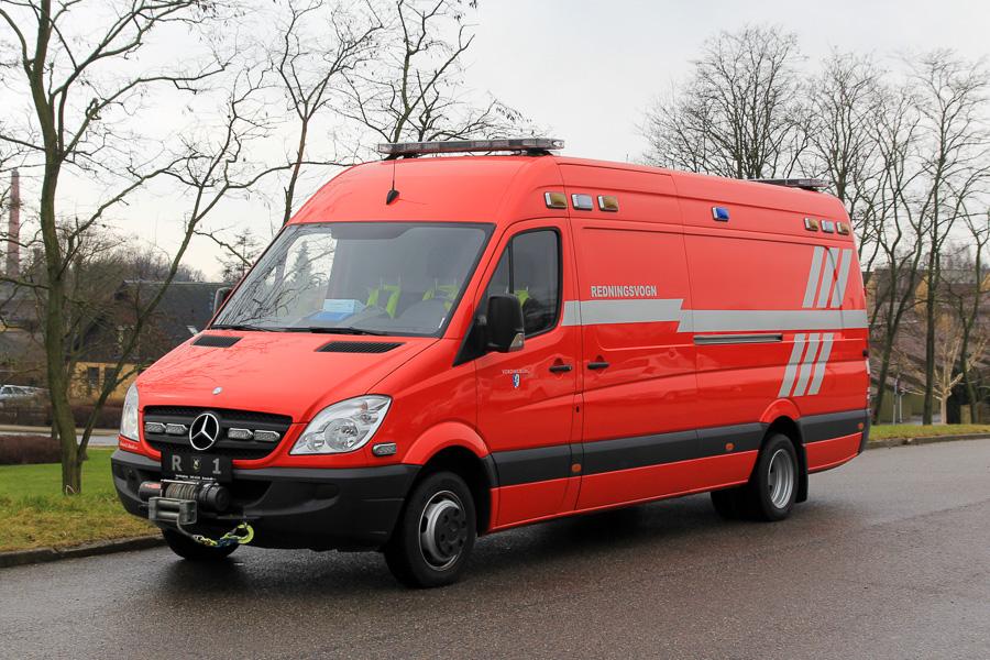 Mercedes-Benz Sprinter redningsvogn, anskaffet i 2008 i forbindelse med at Redningsberedskaberne overtog opgaven med bl.a. frigørelse. Foto: Tony Frimodt
