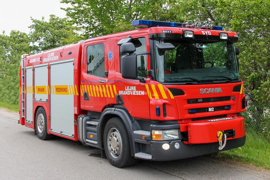 Den ene af Lejre Brandvæsens to identiske Scania sprøjter. Foto: Henning Svensson
