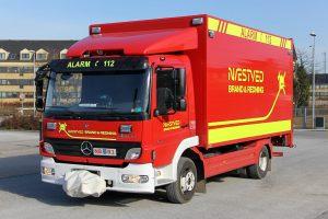 Stor redningsvogn med materiel til blandt andet tung frigørelse, højderedning. Foto: Henning Svensson