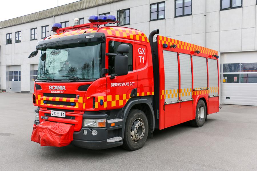 Beredskab Øst, station Gladsaxe. Kombineret tender og redningsvogn på Scania chassis. Foto: Henning Svensson