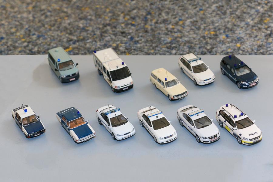 Politibiler gennem tiden, skala 1:87, bygget af Steffen Lund og Henning Svensson. Foto: Henning Svensson