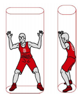 cilinder rondom de speler bron: basketball.nl