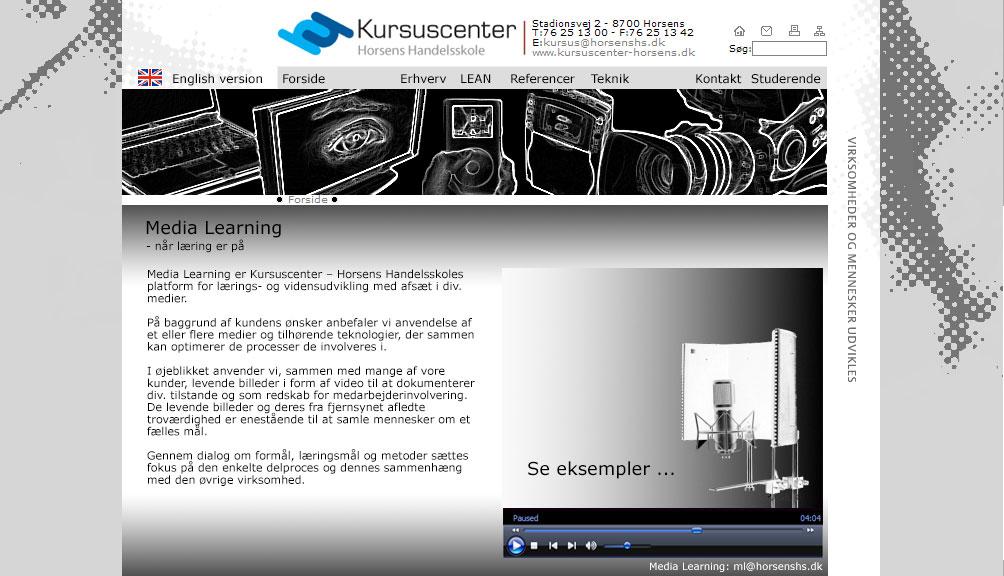 Screendump af den tidligere hjemmeside Media Learning