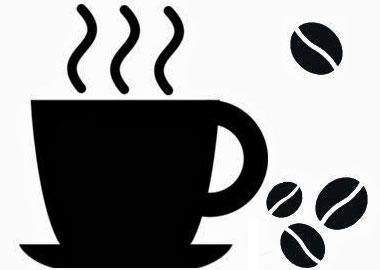 Sort/hvid grafisk gengivelse af dampende kaffekop og kaffebønner.