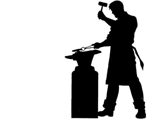Sort/hvid grafisk gengivelse af en arbejdende smed ved en armbolt.