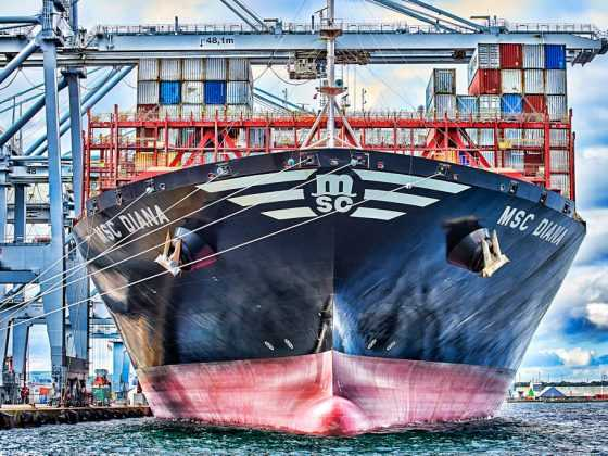 plakat med containerskibet MSC Diana
