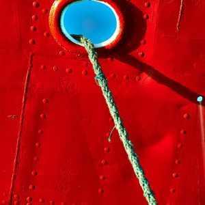 plakat med skib karoline og fortøjningstov