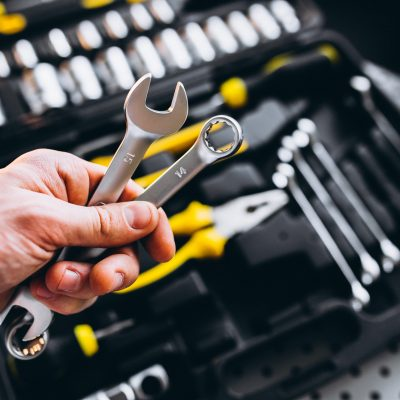 Set of tools in a tool kit isolated