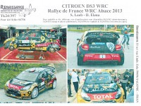 TK24-397 Citroën DS3 WRC Loeb - Elena - Rally de France Alsace 2013 decal Waterslide decal Decal