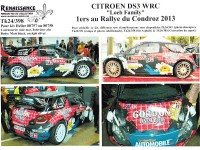 TK24-398 Citroën DS3 WRC Loeb - Loeb - winner Condroz rally 2013 decal Waterslide decal Decal