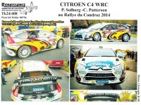 "TK24-408 Citroën C4 WRC  ""VDS"" Solberg - Patterson - Condroz rally 2014 decal Waterslide decal Decal"