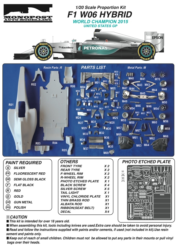 MONOMP031 Mercedes F1 W06 Hybrid  US GP - World Champion 2015 - Lewis Hamilton Multimedia Kit