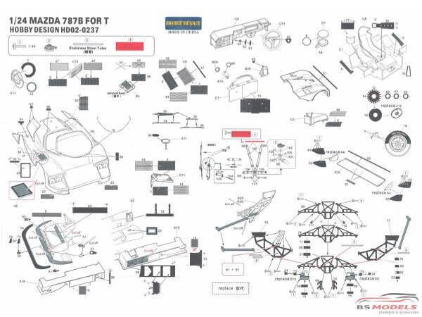 HD020237 Mazda 787B  PE + metal parts + resin (for Tamiya) Multimedia Accessoires
