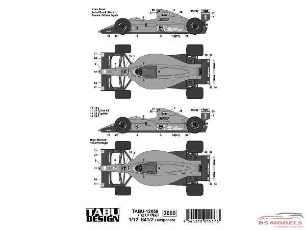 TABU12056 Ferrari 641/2 Full sponsor decal Waterslide decal Decal