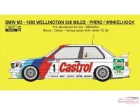 REJI263 BMW M3 - 500 Miles Wellington 1992 - Castrol -  Pirro/Winkelhock Waterslide decal Decal