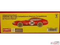 "STU27FR2415 Ferrari 365 GTB4 Daytona Competizione  #34    ""Scuderia Fillipinetti""   LM 1972 Resin Kit"