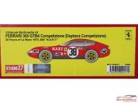 "STU27FR2417 Ferrari 365 GTB4 Daytona Competizione  #38    ""NART""   LM 1973 Resin Kit"