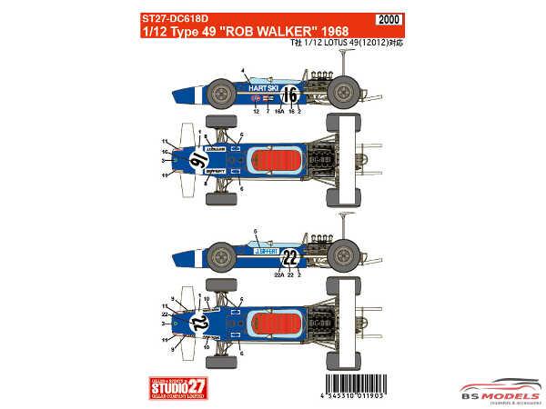 STU27DC618D Lotus Type 49 Rob Walker Waterslide decal Decal