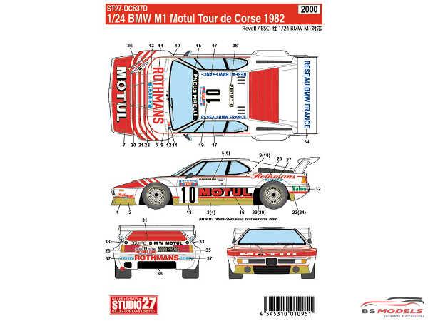 STU27DC637D BMW M1  Motul Tour de Corse  1982 Waterslide decal Decal