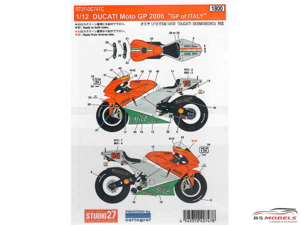 STU27DC747C Ducati Desmocedici  GP of Italy 2006 Waterslide decal Accessoires